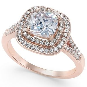Charter Club Jewelry - ✨Double Halo Crystal Center Ring Rose Gold